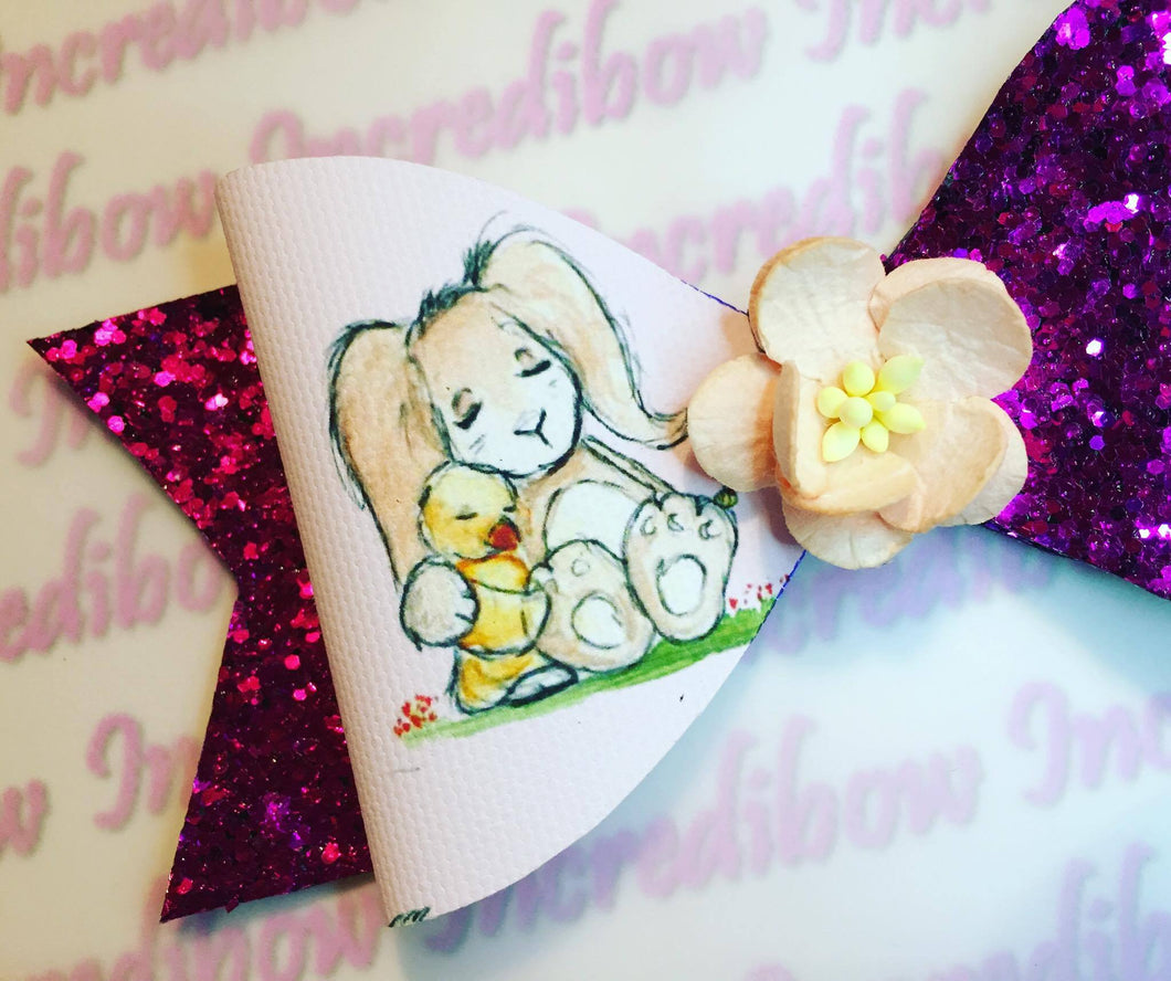 Tea Cup Bunny Printed Bow Fabric - Approx A4