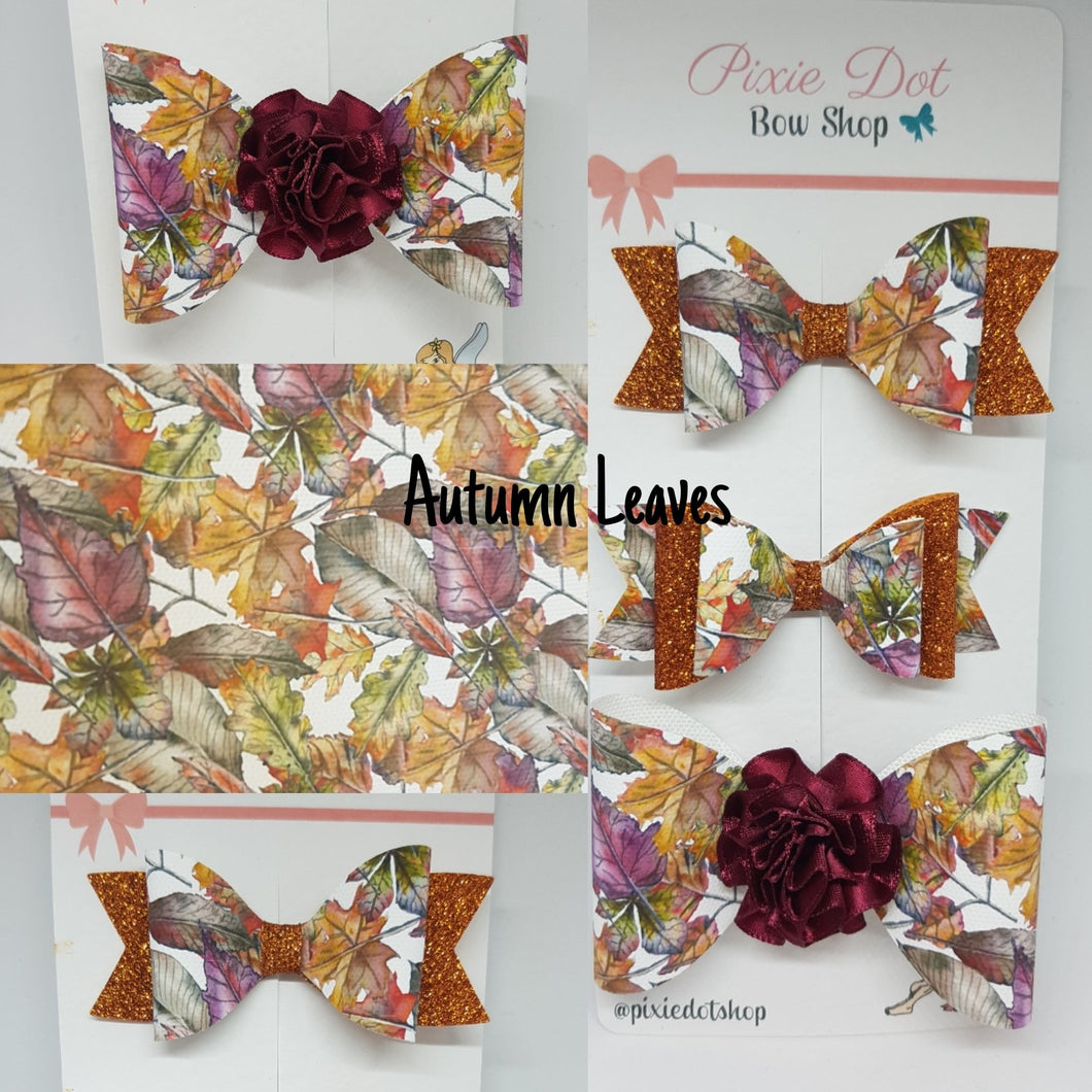 Autumn Leaves Bow Fabric (Appox A4)