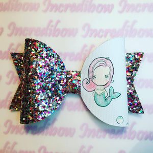 Mermaid and Seahorse Printed Bow Fabric - Approx A4