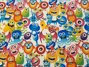 Monster Printed Fabric - Approx A4