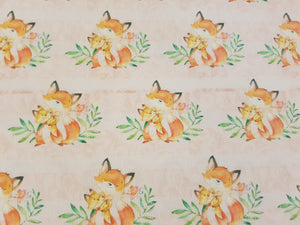 Pink Fox Printed Fabric