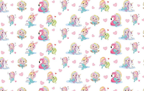 Rainbow Mermaid A4 Printed Bow Fabric