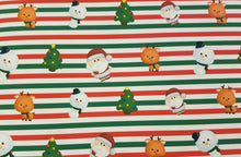 Stripe Christmas Printed Fabric Approx A4
