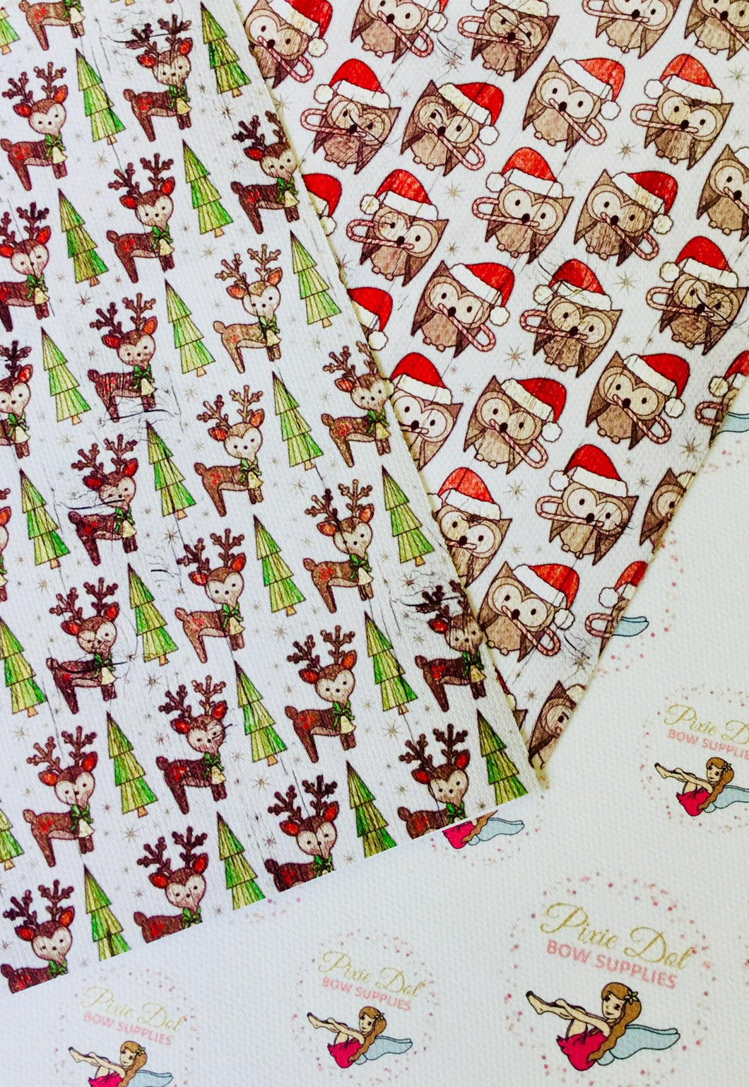 Wooden Christmas Effect Owl/Reindeer Fabric