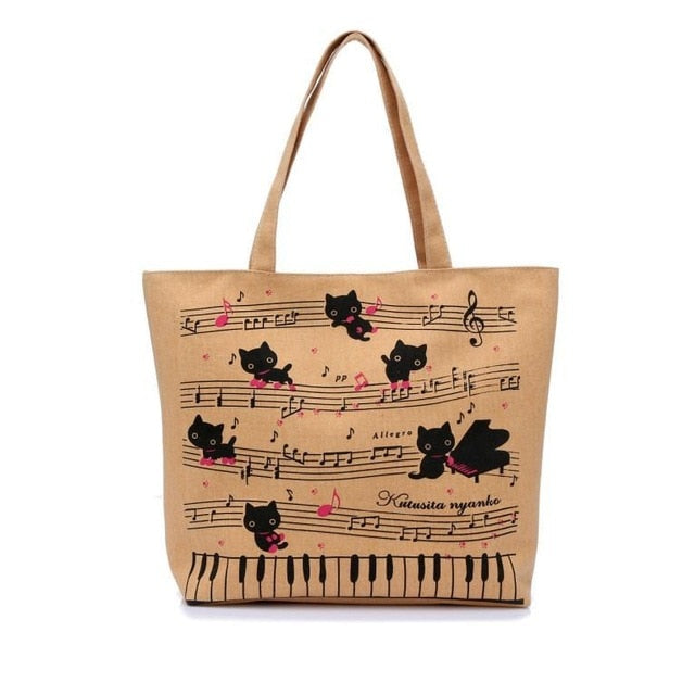Cat Musical Canvas Tote Bag