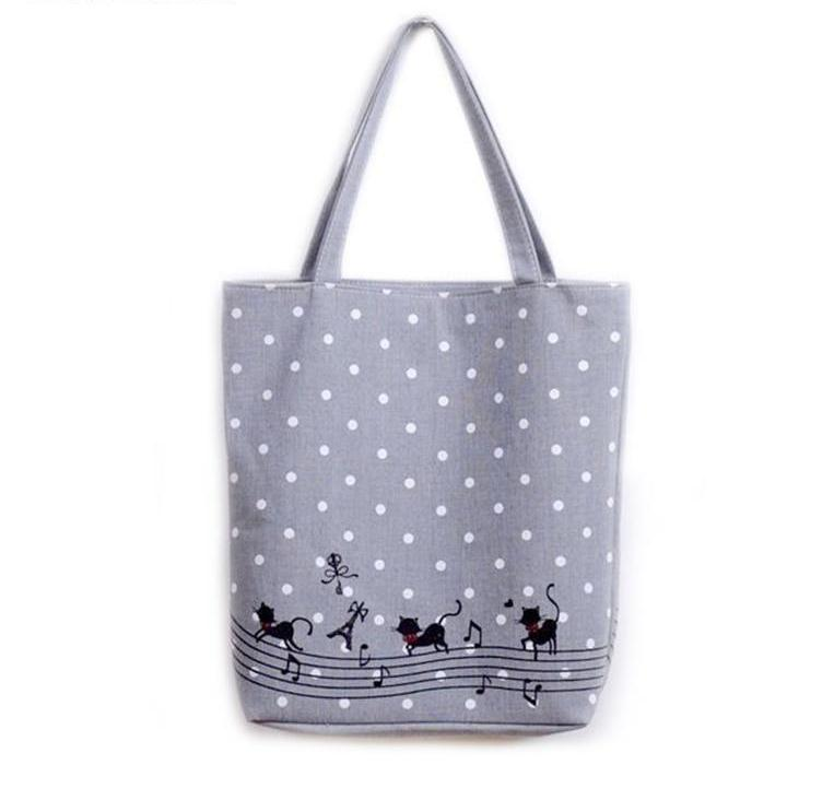 Cat Musical Canvas Tote Bags