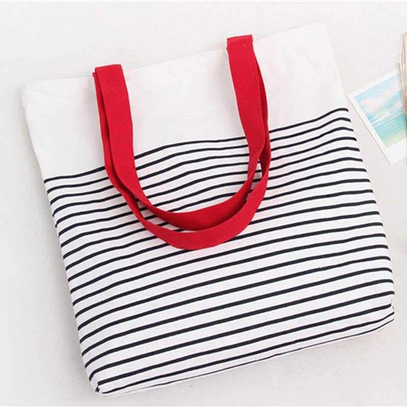 Stripped Tote Bag with zipper