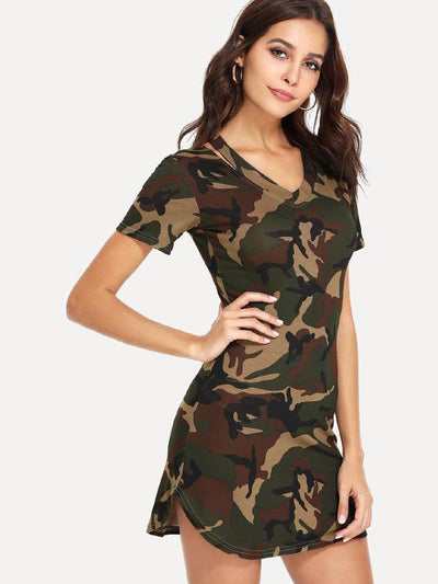 Sanny / Fashion Camouflage Printed Short Sleeve Dress