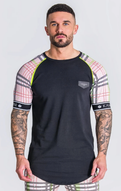 Gianni Kavanagh / T-Shirt British Tartan Black and Green  Raglan