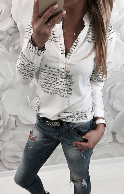 Sanny / Fashionable Stand Neck Letter White Women Blouse