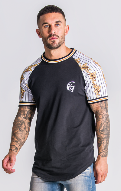 Gianni Kavanagh / T-Shirt Black Baseball Baroque Raglan