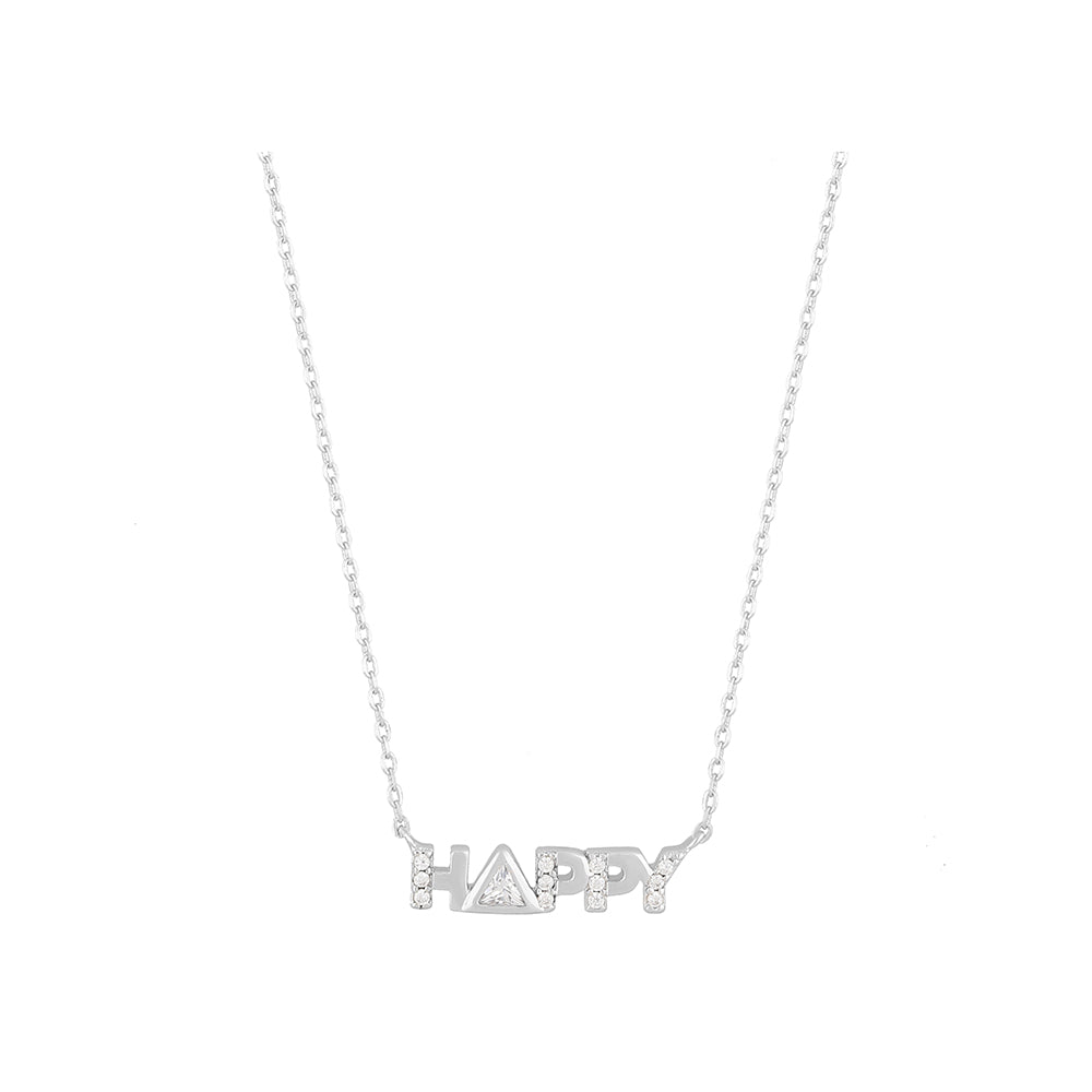 "Collar Princesa ""Happy"" Micropave Y Liso de Plata .925"