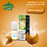 British Tobacco 10ml E-Liquid by Amazonia (Pack of 10)