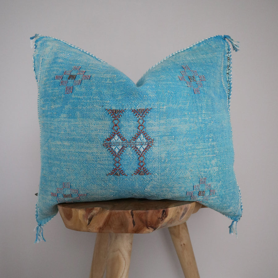 Sabra Silk Pillow Cover - Cyan 5