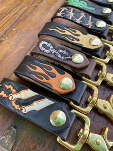 Graphic Leather Key FOB