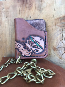 Leather Slim Card Chain Wallet