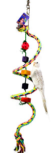 PB12126 (Bird Toy, Boing Rope and Swivel part and Plastic Rattle Ball on Central ...