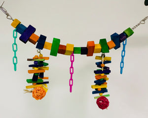 "PB11057 (Bird Toy, Rainbow Bridge w/ 4 color rattan balls. Size: 18"" x 7"". 36 PER..."