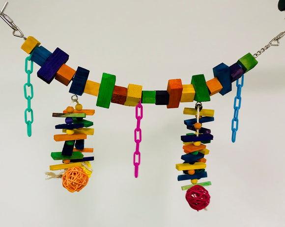 PB11057 (Bird Toy, Rainbow Bridge w/ 4 color rattan balls. Size: 18