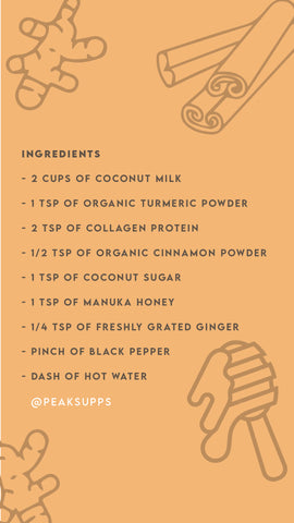 turmeric latte, collagen latte, anti inflamatory drinks, drinks to help inflamation, healthy drinks, organic turmeric, collagen protein