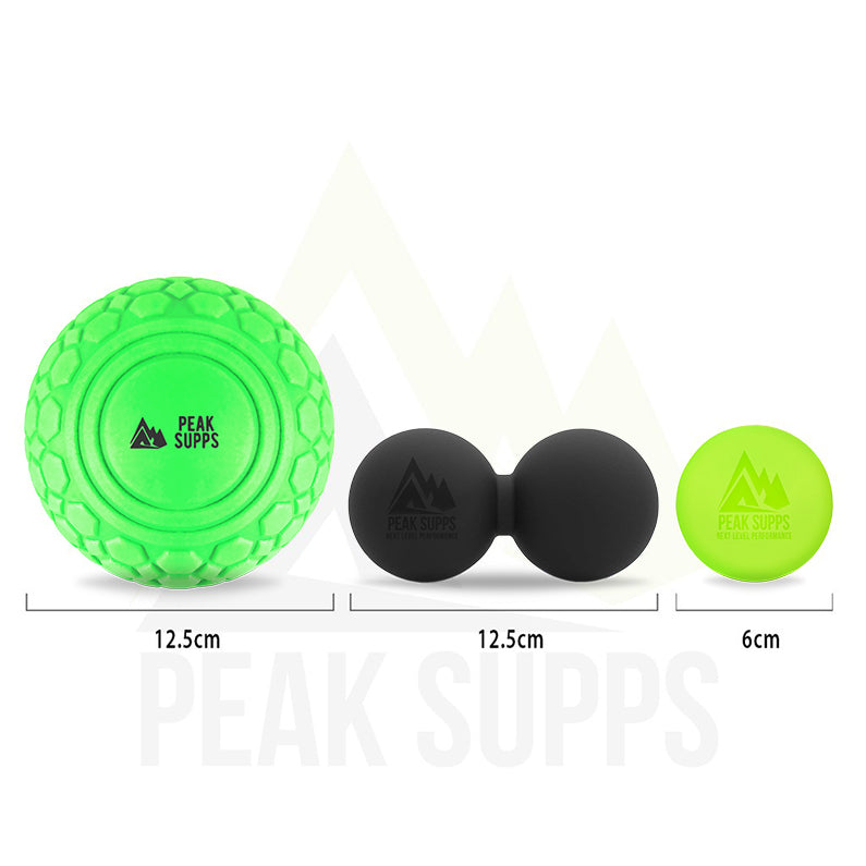 Peak Supps Massage Ball Set With Bag (Large EVA Ball, Peanut Ball, Lacrosse Ball)