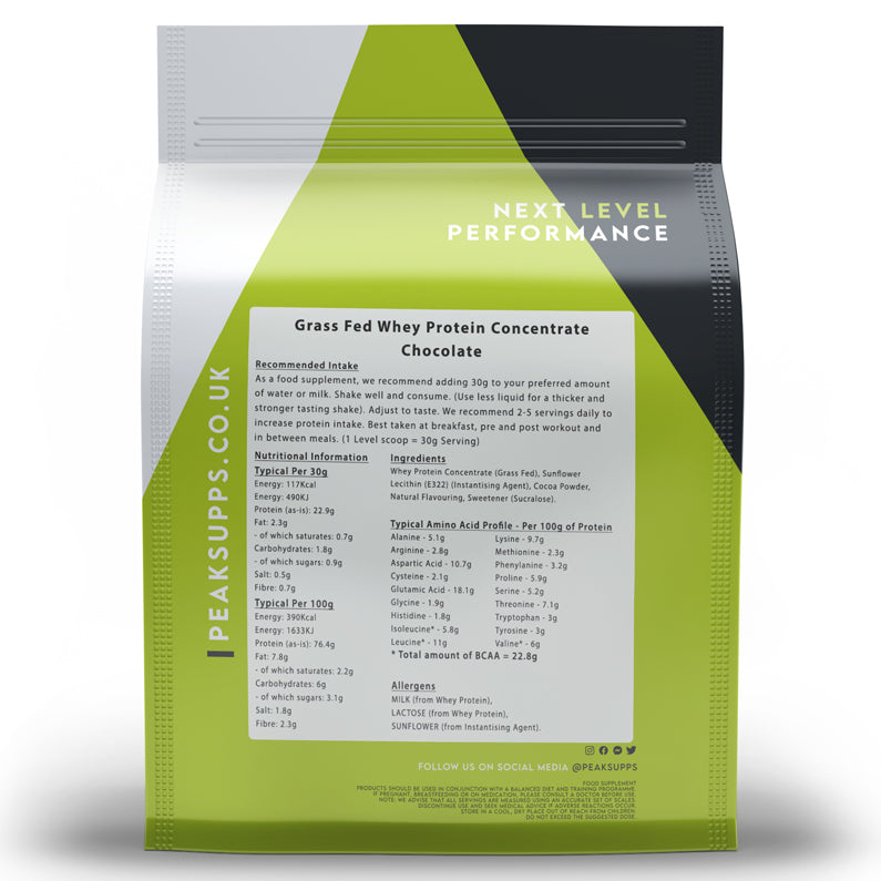 Peak Supps Grass Fed Whey Protein Concentrate Powder - Chocolate