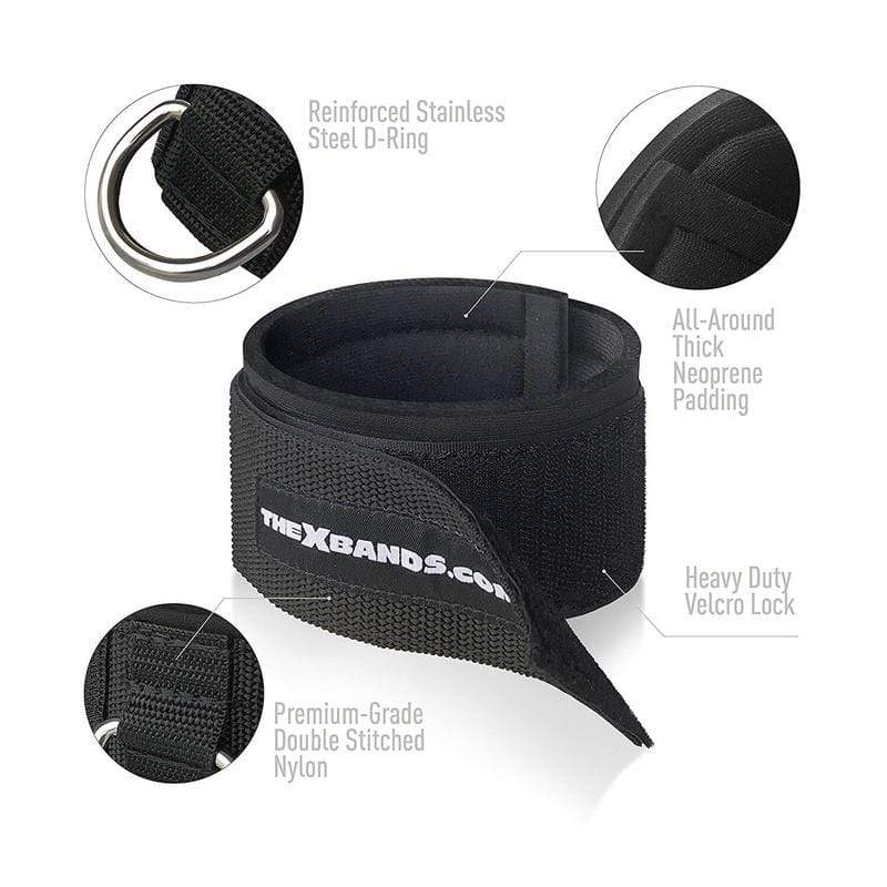 2 Neoprene padded Velcro ankle strap attachments - The X Bands