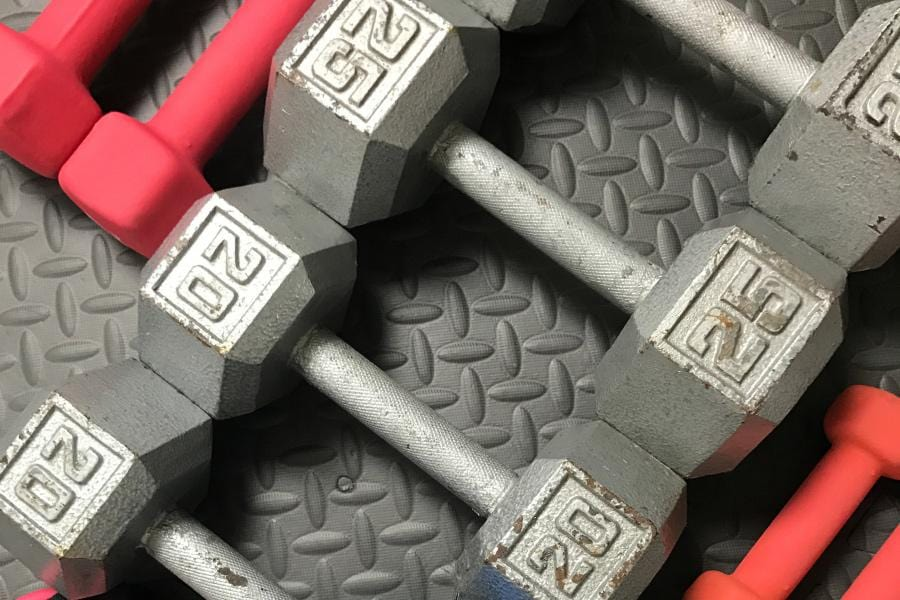 Free weights and resistance bands.