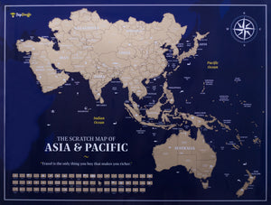 Scratch Off Asia Map - Premium Dark Blue Ocean Version