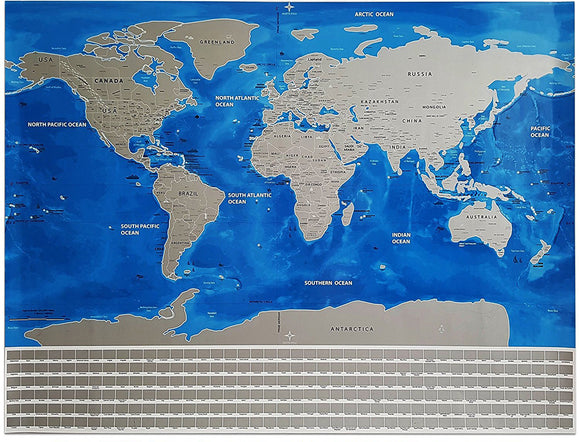 Scratch off World Map - Blue Ocean Version