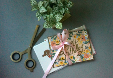 Rifle Paper Co. Greeting cards and HMM scissors in gold