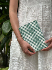 Ola Curve Print Layflat Notebook in Forest Green