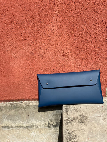 Walk With Me Recycled Leather Regular Pouch in Navy