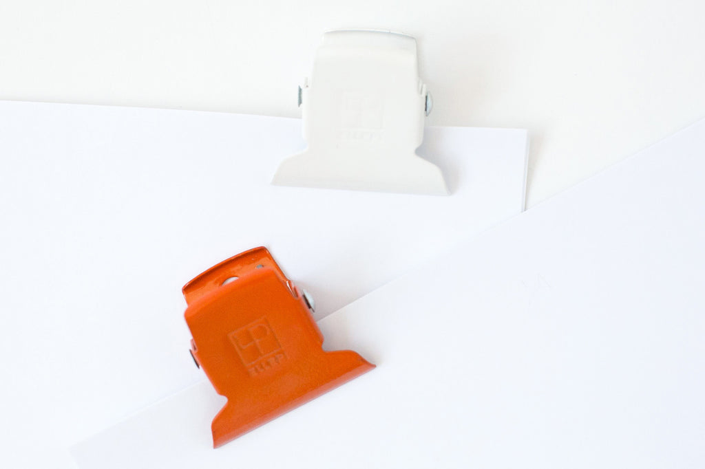 Ellepi Metal Clip in White and Orange - Small 5cm