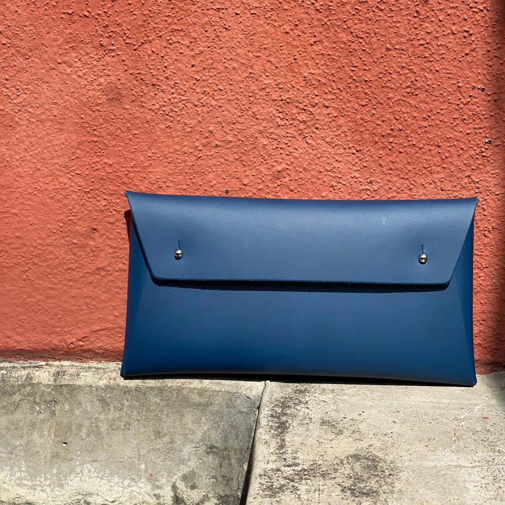 Walk With Me Recycled Leather Pouch in Navy Blue