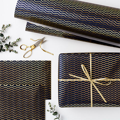 Katie Leamon Navy & Gold Wave Wrap Set