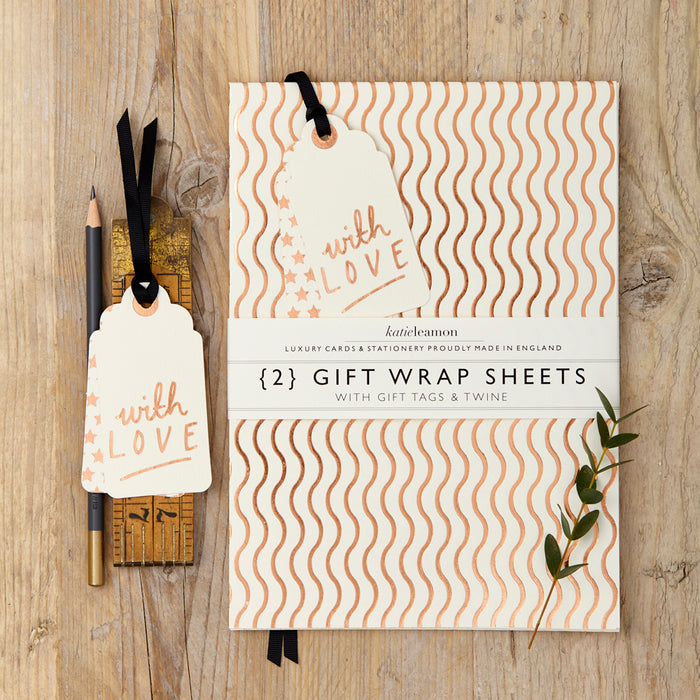 Katie Leamon Copper Foil Wave Gift Wrap Set