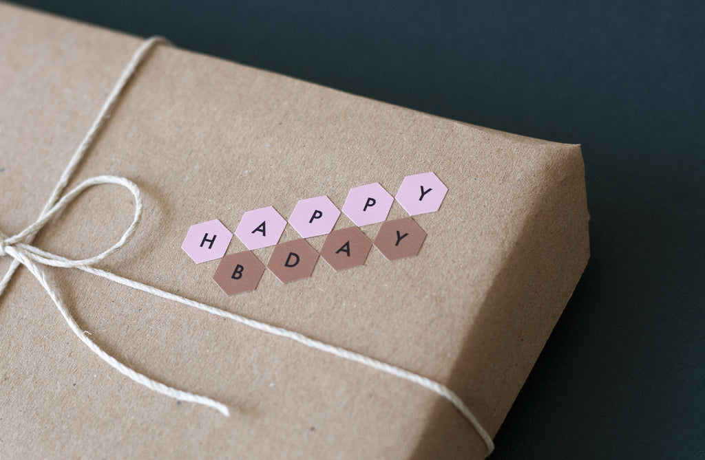 Poi Co. Hexagon Alphabet Stickers in Pink/Yellow
