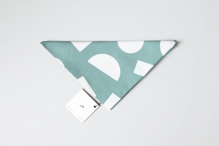 Ola Organic Cotton Wrap with Shapes Print in Turquoise and White. Made in Japanese Furoshiki style, washable and reusable.