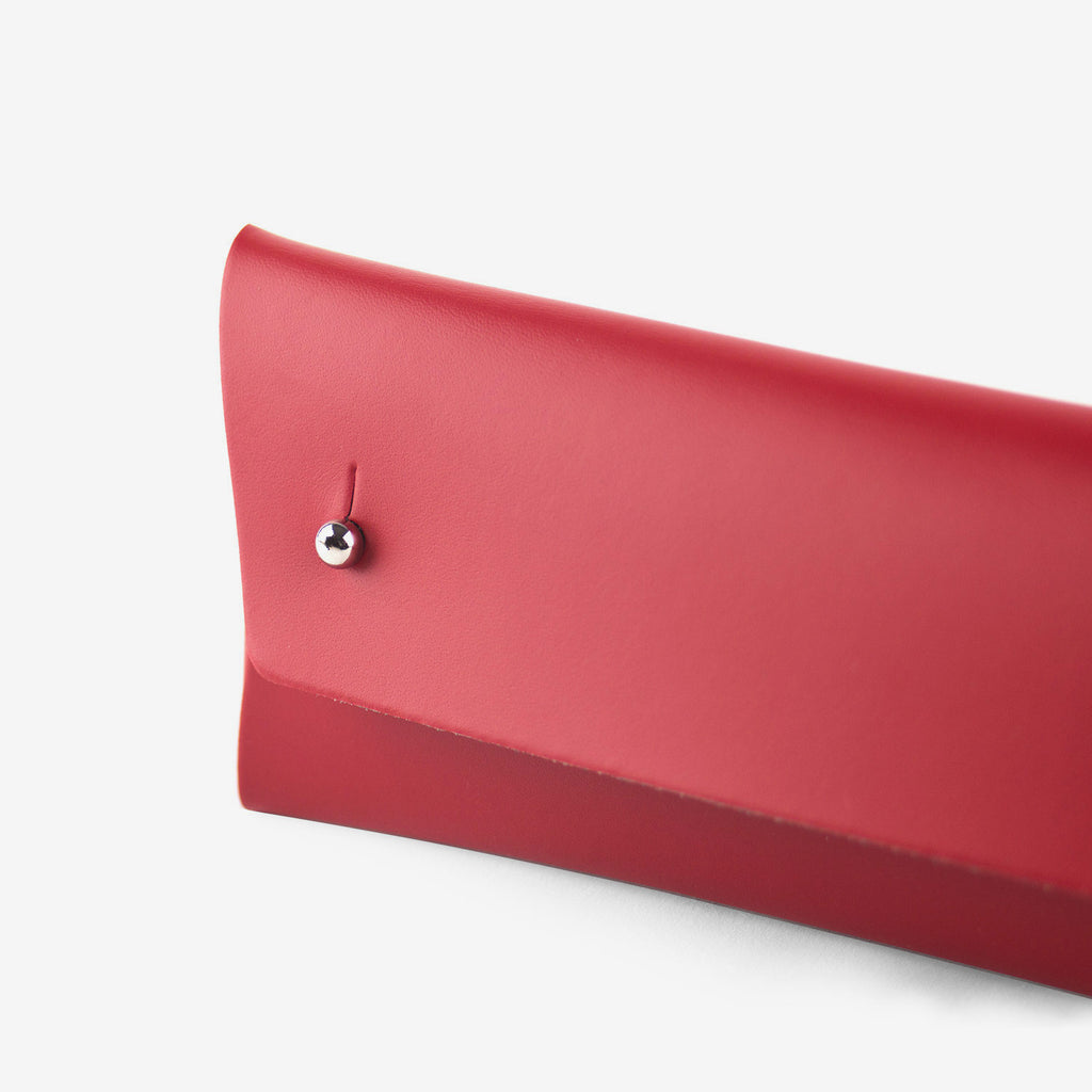 Walk With Me Brand Recycled Leather Pencil Pouch in Red