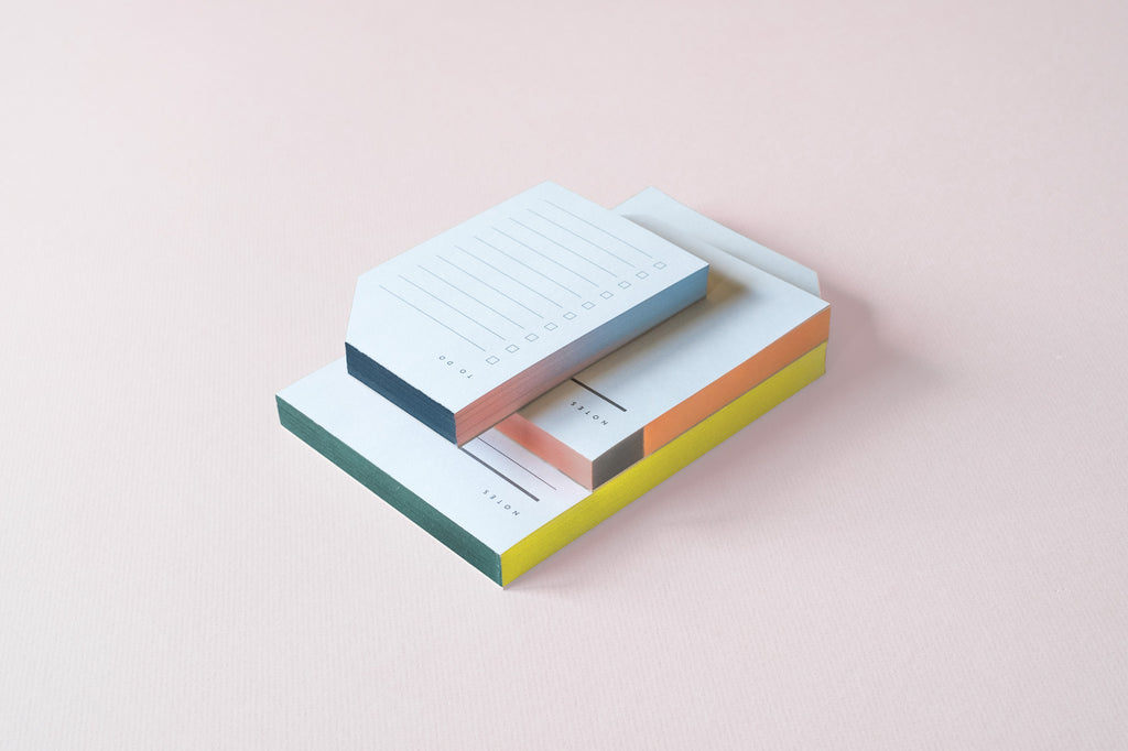 Moglea Colorblock Notepad - Small size. 125 lined sheets with checkboxes for to do lists. Handpainted edges.