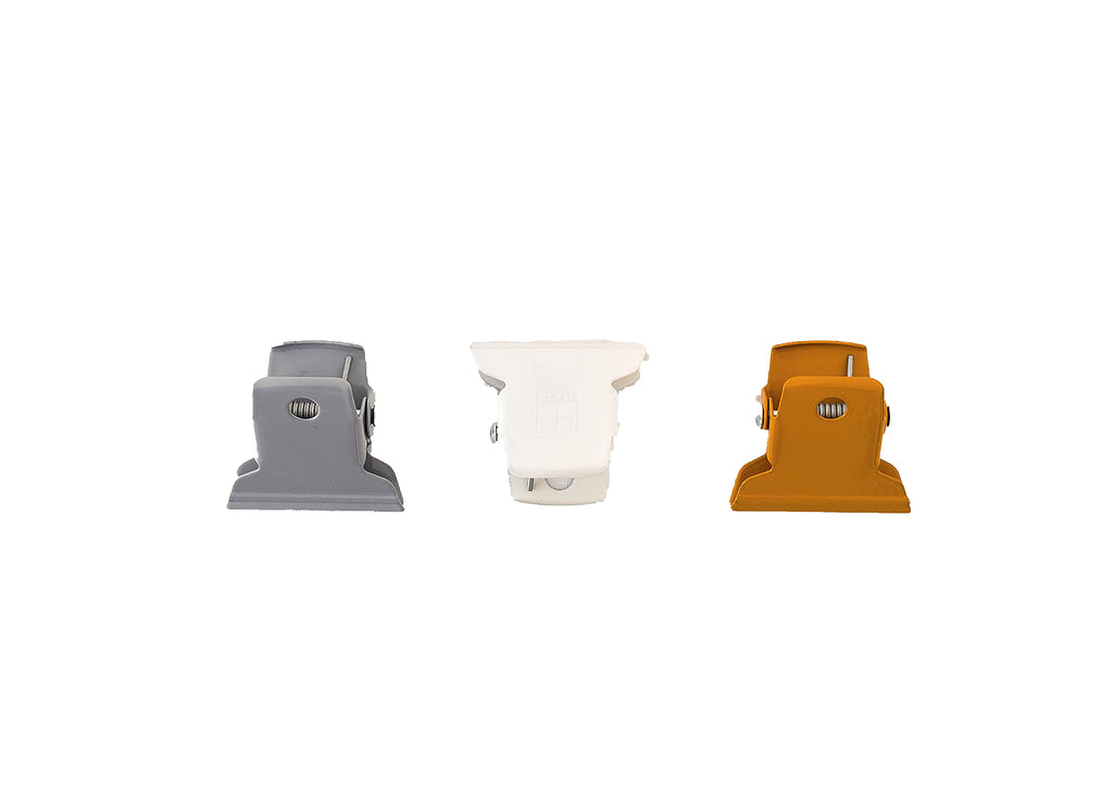 Ellepi Metal Clip in White, Grey and Yellow - Small 5cm