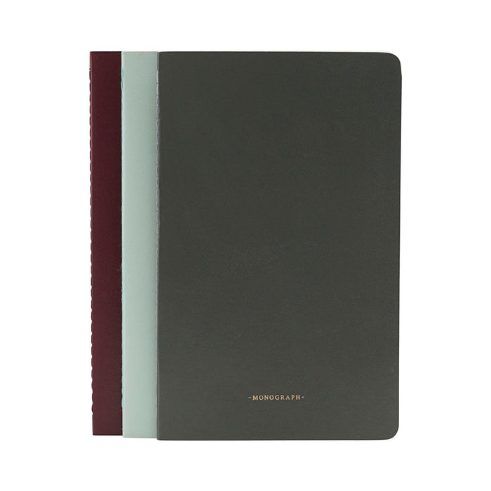 Monograph A5 Ruled Notebook in Green/Grey/Bordeaux