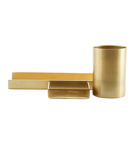 Monograph Stationery Organiser Tray and Pen Holder in Brass