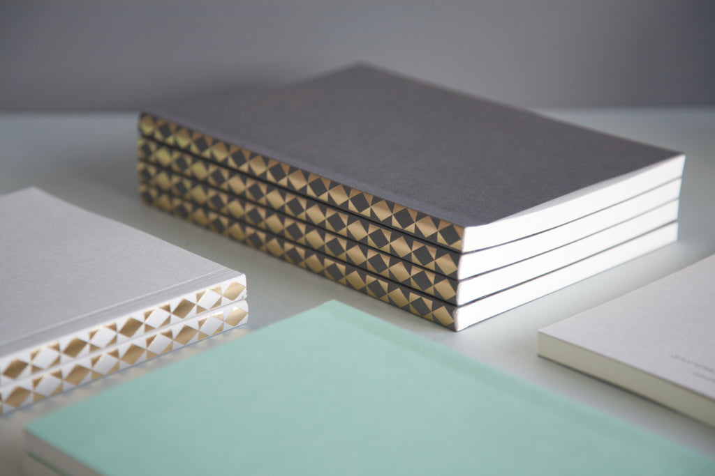 Ola Studio Patterned Spine Notebook in Light Grey