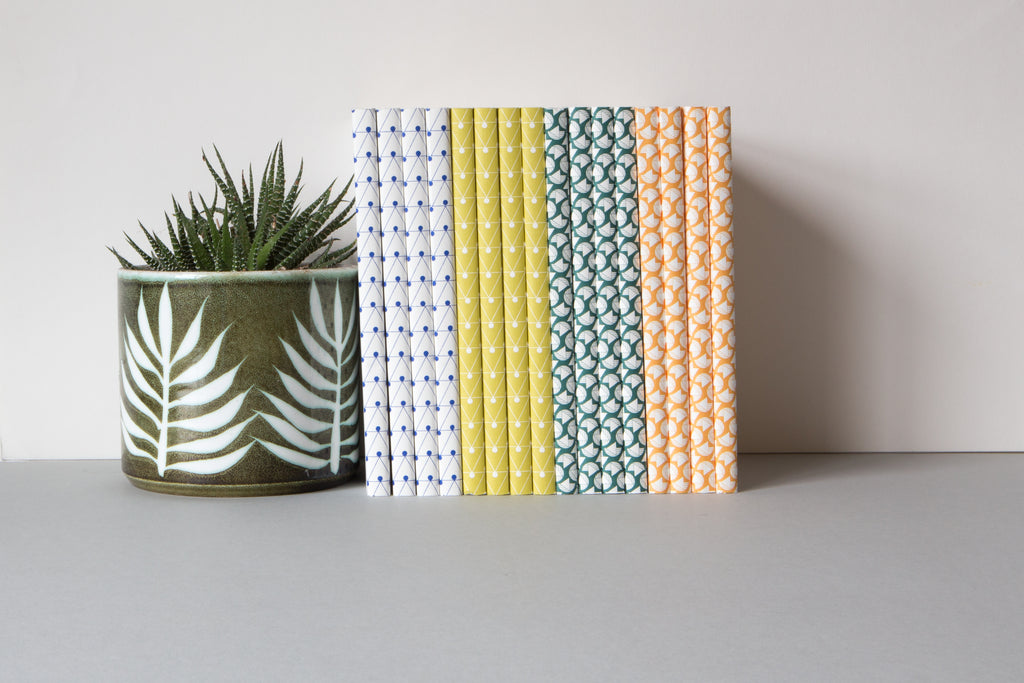 Ola Studio Layflat Notebooks - Curve Print in Forest Green, Dash Print in Klein Blue