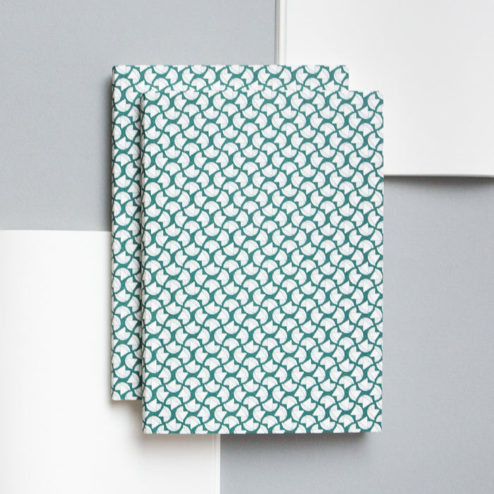 Ola Studio Curve Print Layflat notebook in Forest Green