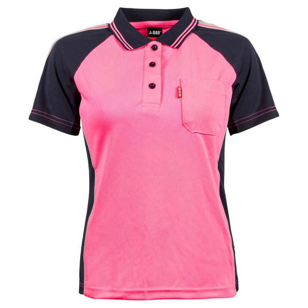 BAD® WOMEN'S PINK HI-VIS POLO SHIRT