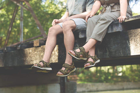 People wearing matching comfortable heeled sandals after dealing with foot pain for years