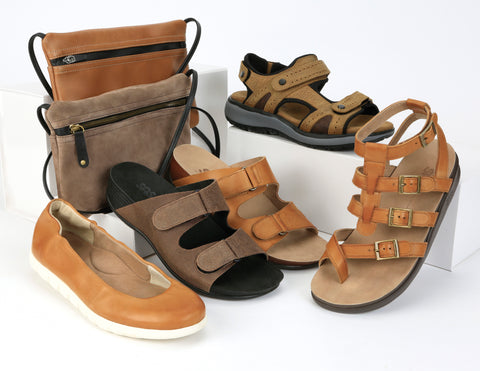 A display of SASNola sandals representing the best shoes for plantar fasciitis